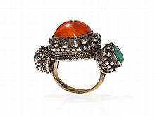 Khampa Nomad Pleated Ring, Silver and Coral, Tibet, 19th/20th C
