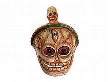 Coloured Chitipati Cham Dance Mask, Tibet, 20th Century