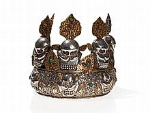 Oracle Crown with Five Removable Skulls, Tibet, 20th C
