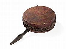 Bön Wooden Tibetan Handle Drum with Leather, Tibet, 19th C