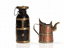 Chhaang Jug and Bottle made of Wood and Metal, Tibet, 19th C