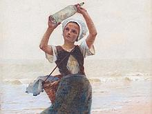 Hector Caffieri (1847-1932), Girl with Bottle Post, around 1900
