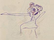 Oskar Laske, Small Colourful Sketch 'Frau Schussi', 1920s