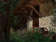 G. Kühn (1872-?), 'Grazing Lamb in Front of a Farmhouse', 1906