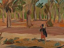 Paul Burckhardt, Oil Painting 'Oasis with Palm Trees', ca. 1930