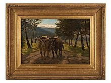 A. Elias (active 1881-1911), 'Cattle Drive in Zermatt', c. 1900
