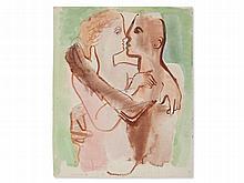 Edvard Frank (1909-1972), Watercolour 'Lovers', around 1930