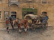 Moritz Ledeli (1856-1920), Watercolour 'Gypsy Caravan', c. 1900