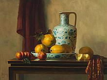 Cai BaoYu, Still Life 'Honeydew and Porcelain', 1997