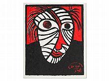 """Mohamed Drissi (1946-2003), Unique Stencil Print """"Portrait"""