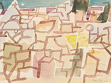 Eduard Bargheer (1901-1979) Watercolour 'Abstract Village' 1962