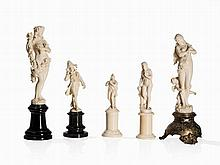 Collection of 5 carved Ivory Figures, Late 19th C.