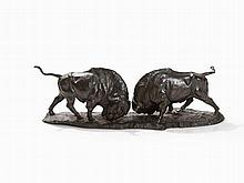 Franz Iffland, Bronze, A Group of Bison, Berlin, 19th C.