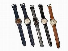 Five Wristwatches, Switzerland/Germany, 2nd Half of 20th C