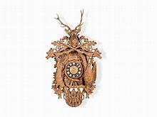 Large Cuckoo Clock, Rich Carving & Solid Oak, Germany 19th C.