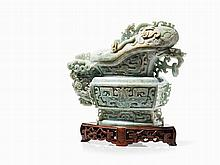 Large Jade Vessel in GUANG Form, 20th C.