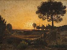 Barbizon School, Oil painting 'Sunset', circa 1850