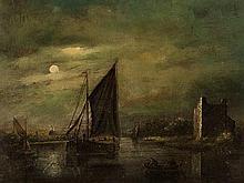 Jacobus Abels (1803-1866), 'Moonlight Marine', circa 1850