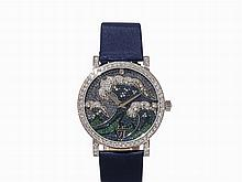 Wristwatch 'Great Wave' with Precious Stones, 18K Gold