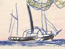 Lyonel Feininger (1871-1956), Drawing, Old Sidewheeler, 1909