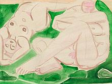 Edvard Frank (1909-1972), Watercolor, Two Nudes, 1948