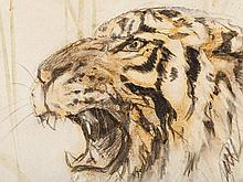 Otto Dill (1884-1957), Watercolor/Pencil, Tiger Head, c. 1942