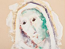 Carl Hofer (1878-1955), Watercolor, Veiled Head, c. 1950