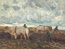 Hans Hartig (1873-1936), oil painting, 'Field Work', 1919