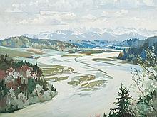 Alfred Haushofer (1872-1943), Gouache, Isartal, c. 1930