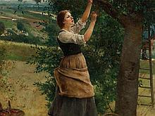 Luis Jiménez y Aranda (1845-1928), Painting 'Cherry Picking'