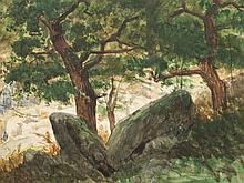 Eugen Bracht, Watercolor, Oak Forest with Rocks, c. 1895