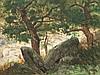 Eugen Bracht, Watercolor, Oak Forest with Rocks, c. 1895