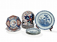 12 Blue & White and Imari Porcelain Plates, Asia, 19th Century