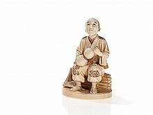 Signed Ivory Okimono of a Resting Rice Farmer, Meiji