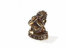 Sino-Tibetan Fire-Gilt Miniature Bronze Mahakala, 18th/19th C
