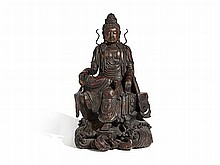 Large Bronze 'Guanyin' Figure on a Tall Pedestal, China, Qing