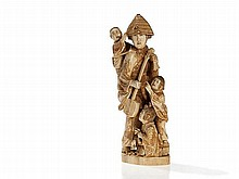 Chikayoshi Ivory Sculpture 'Musician with Children', Meiji