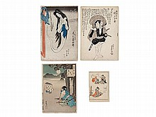 Four Expressive Colour Woodcuts from Japan, 19th C