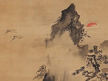 Kano Korenobu attributed, 'Mount Penglai', Japan, Edo