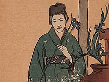 Charles Hovey Pepper Colour Woodblock Print 'Geisha', Japan, 19
