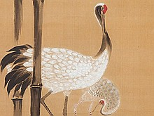 Scroll in the manner of Kano Tsunenobu 'Crane in Bamboo', 19th