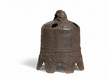 Iron Bell with Figural Dragons, China, Qing Dynasty