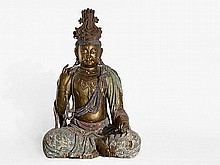 Larger-than-life painted Wood Sculpture Buddha Maitreya, Ming