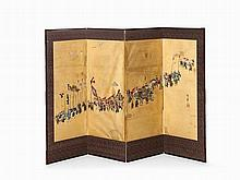 Large Oshi-e Screen with Illustration of a Daimyo, Meiji