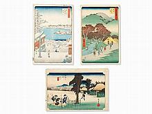 Utagawa Hiroshige, Set of 3 Woodblock Prints, Japan, 1830s-50s