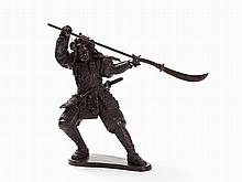 Samurai Warrior, Large Dynamic Bronze Figure, Japan, 20th C.