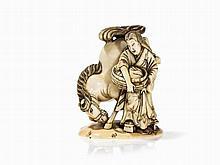 Ivory Miniature Okimono of Kaneko with Horse, Masanobu, 19th C.