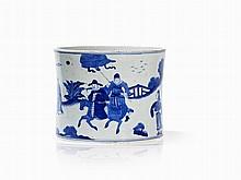 Large Bitong Brush Pot with Scholars, Kangxi Mark and Period