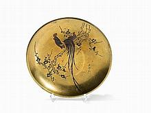 Gilt Bronze Plate with a Couple of Roosters, Signed, Meiji