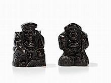 Ceramic Figures of the Gods of Luck Ebisu & Daikoku, 19th C.